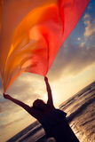 Σκιαγραφία του νέου άλματος γυναικών στην παραλία Στοκ Εικόνες