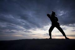Σκιαγραφία του νέου αγοριού που εκτελεί ένα pencak silat Στοκ φωτογραφίες με δικαίωμα ελεύθερης χρήσης