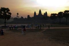 Σκιαγραφία του ναού Angkor Wat, Καμπότζη. Στοκ Φωτογραφία