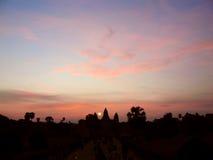 Σκιαγραφία του ναού Angkor Wat Στοκ Εικόνες