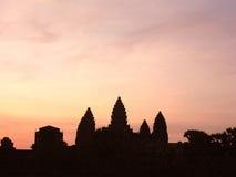 Σκιαγραφία του ναού Angkor Wat Στοκ Φωτογραφίες