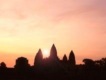 Σκιαγραφία του ναού Angkor Wat Στοκ φωτογραφία με δικαίωμα ελεύθερης χρήσης
