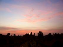 Σκιαγραφία του ναού Angkor Wat Στοκ Εικόνα