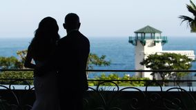 Σκιαγραφία του νεόνυμφου και της νύφης ζευγών που αγκαλιάζουν και που κοιτάζουν στη θάλασσα απόθεμα βίντεο