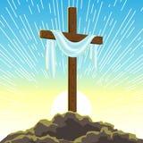 Σκιαγραφία του ξύλινου σταυρού με το σάβανο Ευτυχής απεικόνιση ή ευχετήρια κάρτα έννοιας Πάσχας Θρησκευτικό σύμβολο της πίστης απεικόνιση αποθεμάτων