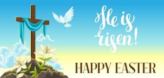 Σκιαγραφία του ξύλινου σταυρού με το σάβανο, το περιστέρι και τους κρίνους Ευτυχής απεικόνιση ή ευχετήρια κάρτα έννοιας Πάσχας θρ διανυσματική απεικόνιση