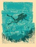Σκιαγραφία του οδηγού σκαφάνδρων υποβρύχια Εκλεκτής ποιότητας αφίσα θάλασσας Στοκ εικόνα με δικαίωμα ελεύθερης χρήσης