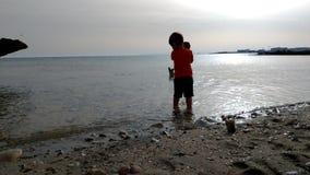 Σκιαγραφία του παιχνιδιού παιδιών και σκυλιών στην παραλία στο ηλιοβασίλεμα Αγόρι που έχει τη διασκέδαση με το κατοικίδιο ζώο του απόθεμα βίντεο
