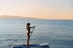 Σκιαγραφία του προκλητικού κοριτσιού με την κυματωγή γουλιάς και του κουπιού στα χέρια στον ωκεανό Τρόπος ζωής έννοιας, αθλητισμό Στοκ Εικόνα