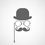 Σκιαγραφία του προσώπου του κυρίου με στριμμένος moustache, του σφαιριστή και των γυαλιών Στοκ Εικόνες