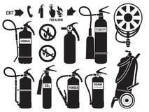 Σκιαγραφία του πυροσβεστήρα Μονοχρωματικό διανυσματικό σύνολο εικόνων αφρού συμβόλων προστασίας φλογών εξοπλισμού πυροσβεστικών σ απεικόνιση αποθεμάτων
