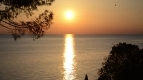 Σκιαγραφία του ρομαντικού ζεύγους ερωτευμένη στο ηλιοβασίλεμα στη θάλασσα Αγόρι και κορίτσι που απολαμβάνουν στο ηλιοβασίλεμα και απόθεμα βίντεο