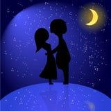 Σκιαγραφία του ρομαντικού ζεύγους τη νύχτα. Διανυσματική απεικόνιση του λ Στοκ Φωτογραφίες