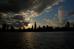 σκιαγραφία του Σικάγου στοκ φωτογραφία