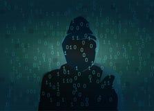 Σκιαγραφία του σκοτεινού αριθμού χάκερ Στοκ εικόνα με δικαίωμα ελεύθερης χρήσης