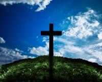 Σκιαγραφία του σταυρού Στοκ φωτογραφία με δικαίωμα ελεύθερης χρήσης