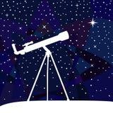 Σκιαγραφία του τηλεσκοπίου στο ζωηρόχρωμο υπόβαθρο νυχτερινού ουρανού Διανυσματική απεικόνιση
