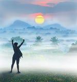 Σκιαγραφία του τουρίστα και ενός όμορφου τοπίου στοκ εικόνες