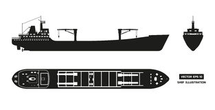 Σκιαγραφία του φορτηγού πλοίου σε ένα άσπρο υπόβαθρο Τοπ, δευτερεύουσα και μπροστινή άποψη Μεταφορά εμπορευματοκιβωτίων Στοκ Εικόνα