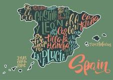 Σκιαγραφία του χάρτη της Ισπανίας με τα χειρόγραφα ονόματα της περιοχής διανυσματική απεικόνιση