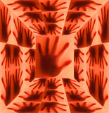 Σκιαγραφία του χεριού στο κόκκινο δωμάτιο Στοκ Φωτογραφίες
