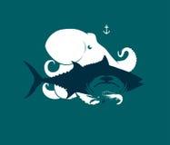 Σκιαγραφία του χταποδιού θαλασσινών, του τόνου, του καβουριού και των γαρίδων, διανυσματική απεικόνιση διανυσματική απεικόνιση