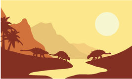 Σκιαγραφία του ankylosaurus στο πρωί Στοκ Φωτογραφίες
