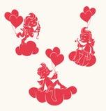 Σκιαγραφία του loughint cupid με το τόξο και το βέλος Στοκ φωτογραφία με δικαίωμα ελεύθερης χρήσης