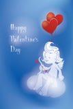 Σκιαγραφία του loughint cupid με το τόξο και το βέλος Στοκ Εικόνες