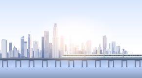 Σκιαγραφία τραίνων οριζόντων υποβάθρου εικονικής παράστασης πόλης άποψης ουρανοξυστών πόλεων με το διάστημα αντιγράφων Στοκ Εικόνες