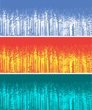 Σκιαγραφία τριών δασικών δέντρων χρώματος Στοκ Φωτογραφίες