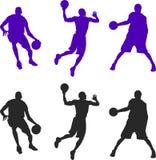 Σκιαγραφία τριών παίχτης μπάσκετ Διανυσματικό setillustration διανυσματική απεικόνιση