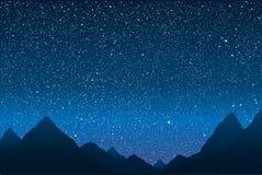Σκιαγραφία των βουνών ουρανός έναστρος 10 eps Στοκ Εικόνες