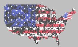 Σκιαγραφία των Ηνωμένων Πολιτειών της Αμερικής με τους διαμαρτυρομένους Στοκ Εικόνες
