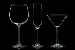 Σκιαγραφία των διαφορετικών γυαλιών στο Μαύρο Στοκ φωτογραφία με δικαίωμα ελεύθερης χρήσης