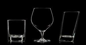 Σκιαγραφία των διαφορετικών γυαλιών στο Μαύρο Στοκ Φωτογραφία