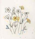 Σκιαγραφία των λουλουδιών με τις πτώσεις στοκ φωτογραφία