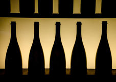 Σκιαγραφία των μπουκαλιών στοκ εικόνες