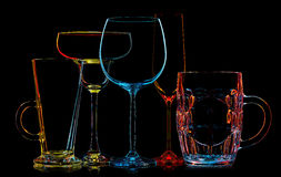 Σκιαγραφία των πολύχρωμων διαφορετικών γυαλιών Στοκ εικόνες με δικαίωμα ελεύθερης χρήσης