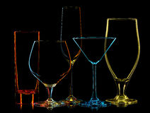 Σκιαγραφία των πολύχρωμων διαφορετικών γυαλιών Στοκ φωτογραφία με δικαίωμα ελεύθερης χρήσης