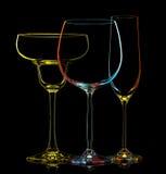 Σκιαγραφία των πολύχρωμων διαφορετικών γυαλιών Στοκ Φωτογραφία