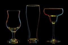 Σκιαγραφία των πολύχρωμων διαφορετικών γυαλιών Στοκ Φωτογραφίες