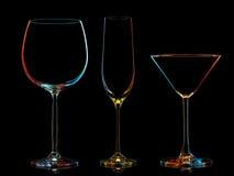 Σκιαγραφία των πολύχρωμων διαφορετικών γυαλιών Στοκ εικόνα με δικαίωμα ελεύθερης χρήσης