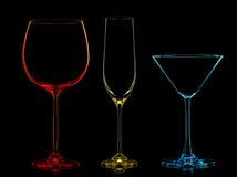 Σκιαγραφία των πολύχρωμων διαφορετικών γυαλιών Στοκ Εικόνα