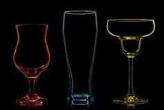 Σκιαγραφία των πολύχρωμων διαφορετικών γυαλιών Στοκ Εικόνες