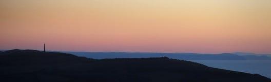 Σκιαγραφία των λόφων του Άμπερισγουάιθ στο ηλιοβασίλεμα Στοκ εικόνα με δικαίωμα ελεύθερης χρήσης