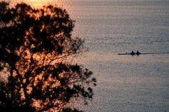 Σκιαγραφία των rowes Στοκ εικόνα με δικαίωμα ελεύθερης χρήσης