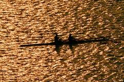 Σκιαγραφία των rowes Στοκ Φωτογραφία