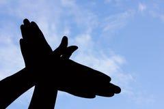Σκιαγραφία χεριών μορφής πουλιών στο μπλε ουρανό και το σύννεφο Στοκ Φωτογραφίες