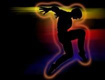Σκιαγραφία χορευτών χιπ χοπ σε μια κίνηση χορού Στοκ Φωτογραφία